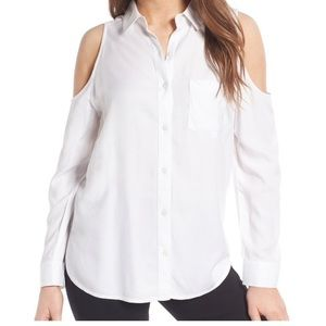 NEW white button down top with open shoulders